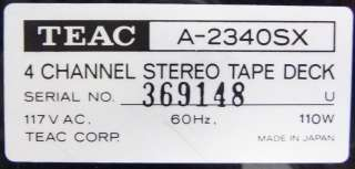 TEAC A 2340SX 4 CHANNEL SIMUL SYNC STEREO REEL TO REEL TAPE DECK