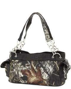 MOSSY OAK CAMO CAMOUFLAGE HANDBAG SATCHEL PURSE BLACK TRIM