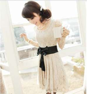 Fashion Women Sexy Long Sleeve Corset Bowknot Cocktail Evening Lace