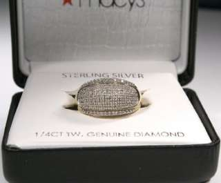 200  18 KT Gold Over Sterling Silver Pave Diamond Ring SZ 7 NWT