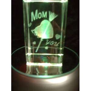 Laser Etched Crystal Cube Mom