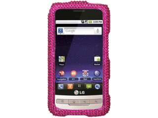 HOT PINK BLING CRYSTAL CASE COVER LG OPTIMUS M 690