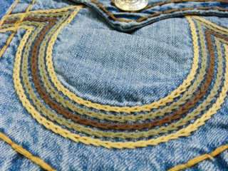 NWT TRUE RELIGION Mens Jeans Ricky Super T Rainbow Chain Stitch Combo