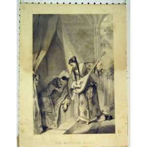 Moorish Maid Man Music Romance Antique Print Woman Home