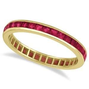 Princess Cut Ruby Eternity Ring Band 14k Yellow Gold (1