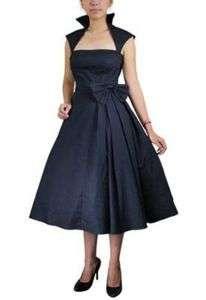 RETRO BLACK BOW PINUP DRESS 4 6 8 10 12 14 16 18 S   XL #381701