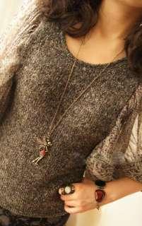 Retro Cool Nice Rhinestone Peter Pans fairy Necklace Chains Pendants