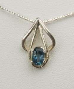 London Blue Topaz Pendant / Necklace   Sterling Silver