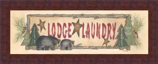 Lodge Laundry Room Sign Cabin Decor Bear Print Framed