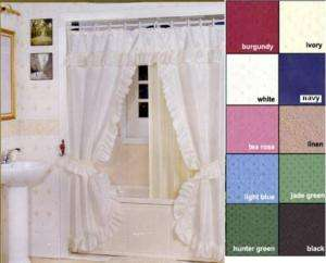 DOUBLE SWAG FABRIC SHOWER & WINDOW CURTAIN   NAVY BLUE