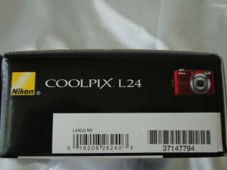NEW NIKON RED L24 14mp 3.6x optical zoom Digital Camera, Sealed, w
