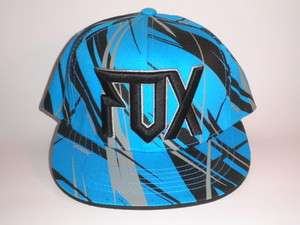 NEW Fox Racing Hat Substantial OSFA Black Blue Grey Snapback Flatbill