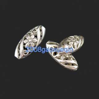5Pcs Tibetan silver Flower oval spacer beads 9.5×23mm A5043