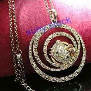 NEW Fashion hello kitty big Crystal Circle Circle necklace A51