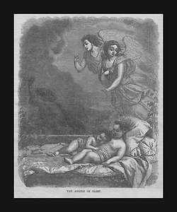 Guardian Angels Watch Over Sleeping Children, Antique Engraving