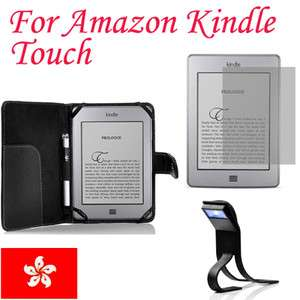 Leather Case Cover For  Kindle Touch+Screen Guard+LED Light