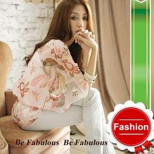 Rachel Star Chiffon Sheer Gypsy Bohemian Print Blouse Kimono Top S M