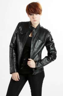 United Face Womens New Black Brown Lambskin Leather Moto Biker Jacket