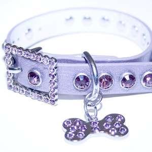 Purple Leather, Rhinestone Dog Collar w/ Bling Dog Bone Charm