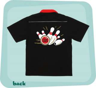 Black/Red Retro Bowling Shirt LUCKY LANES printed Front & Back COOL