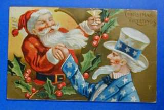 SANTA CLAUS CHRISTMAS PATRIOTIC UNCLE SAM POSTCARD