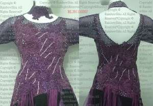 XXXL Crystal Purple Black Fringes Latin dance dress