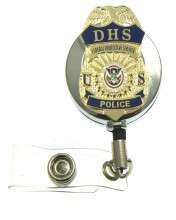 Federal Protective Service Mini Badge ID Badge Holder in a chrome