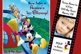 Mickey Minnie Mouse Photo Birthday Party Invitations & FREE Thank You