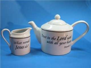 Teapot and Creamer Bible Verse Set White Ceramic WWJD
