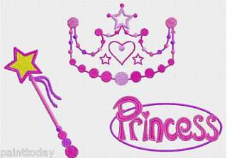 GIRLS EMBROIDERY DESIGNS Monograms PRINCESS MOTIF CROWN