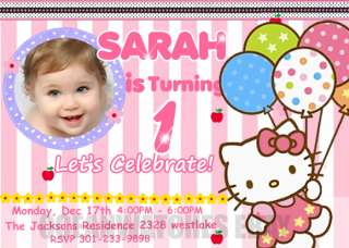HELLO KITTY PERSONALIZED BIRTHDAY PARTY Photo CARD INVITATIONS INVITES