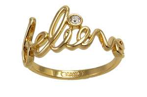 Disney Couture Tinkerbell Believe Gold Ring