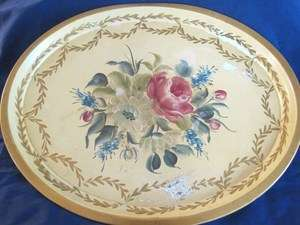 Yellow Antique Tole Tray ** Shabby Beach Cottage Floral Chic Decor