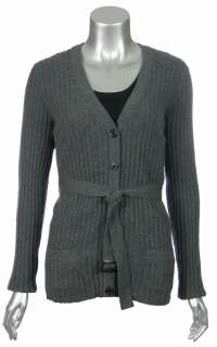Sutton Studio Womens Cashmere Large Ribbed Cardigan