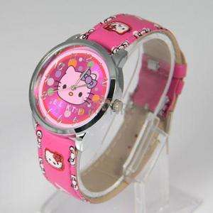 Cute Lovely Colorful Hello kitty Quartz Wrist Watch Children Party