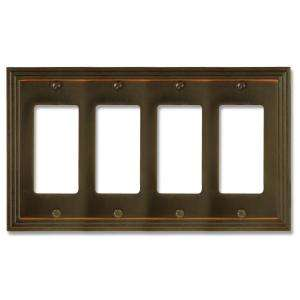 amerelle steps 4 gang aged bronze rocker switch wall plate 84r4vb at