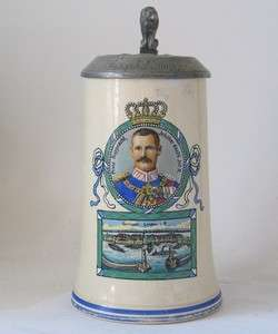German Military Regimental Beer Stein 20. Inf. Rgmt.Lindau c.1915