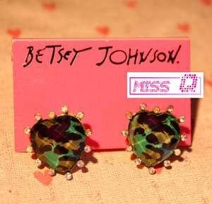 JOHNSON DIAMOND CRYSTAL HEART CAMOUFLAGE STUDS *U.S SELLER* XMAS GIFT