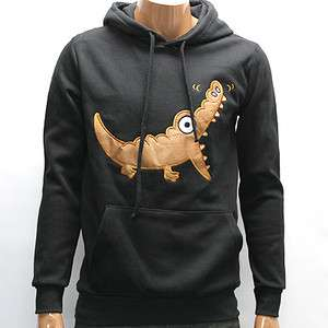 Mens Black Alligator Pullover Fleece Warm Hoody M L / Crocodile