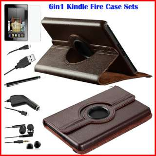 Kindle Fire 360°Rotating Leather Folio Case Cover Stylus