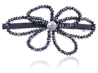 Midnight Blue Beads Crystal Rhinestone Flower Barrette Hair Clip