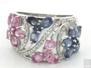 18K WHITE GOLD 3.64CTW VS DIAMOND & PINK/BLUE SAPPHIRE CLUSTER FLOWER