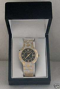 Elgin Mens Gold & Crystal Fashion Bling Watch FREESHIP