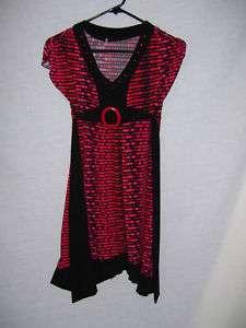 GIRLS BLACK RED POLKA DOT DRESS SIZE LARGE
