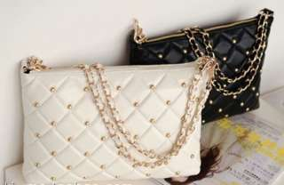 New Real Lambskin Leather Quilted Studden Chain Crossbody Handbag