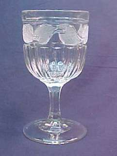 Frosted Leaf Flint Early American Pattern Glass Goblet