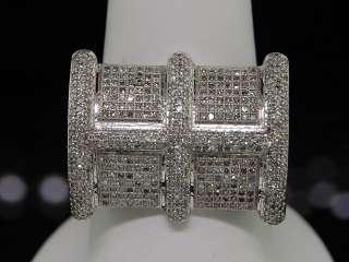 MENS 10K WHITE GOLD PAVE DIAMOND DESIGNER PINKY RING