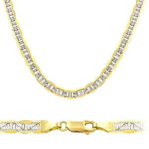 14k Yellow White Gold Bracelet Two Tone Marine 3.5mm 7