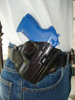 BLACK LEATHER OPEN TOP BELT HOLSTER FOR S&W M&P SD 9 40 45 3.5