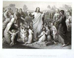 Imperial Family Bible  1847  SUFFER LITTLE CHILDREN
